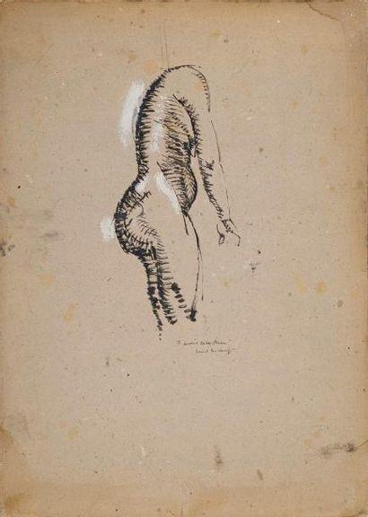 MARCEL DUCHAMP (1887-1968) Nu debout de profil, vers 1910 peinture et gouache sur...