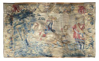 FLANDRES, Fin XVIIème siècle Les Mousquetaires et le roi Louis XIV Remarquable panneau...