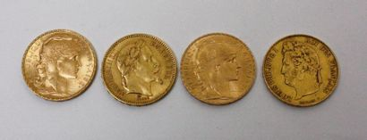 4 PIECES de 20 FF or : deux au coq 1905 et...
