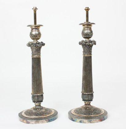 PAIRE DE BOUGEOIRS en métal argenté XIXème...