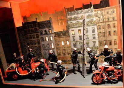 « Diorama d'automates de Sapeur-Pompier...