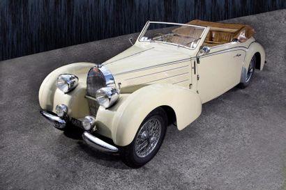 1939 Bugatti type 57C Châssis 57836. Moteur 93C. Cabriolet 4 places Gangloff. Carte...