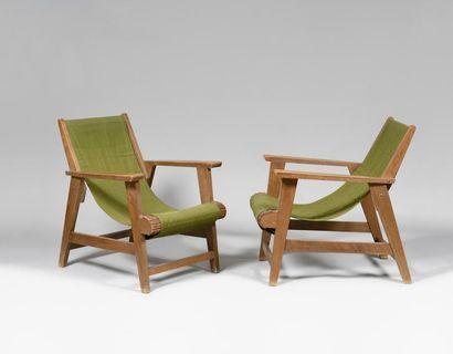 TRAVAIL AMERICAIN vers 1910 Paire de fauteuils...