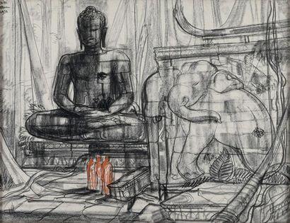ANDRE MAIRE (1898-1984) Bouddha monumental et éléphant dans un temple, 1956 Fusain...