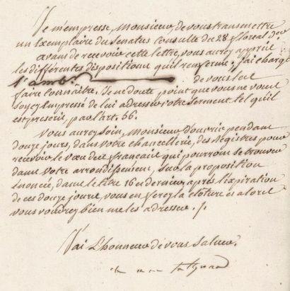 TALLEYRAND (Charles-Maurice de). Lettre signée...