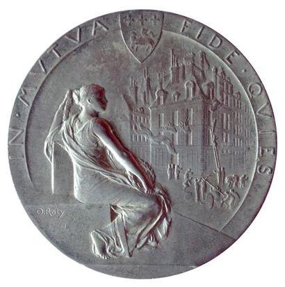 Oscar ROTY (1846 - 1911) Médaille, Mutuelle Incendie de Rouen par Roty. Paris. (1917)....
