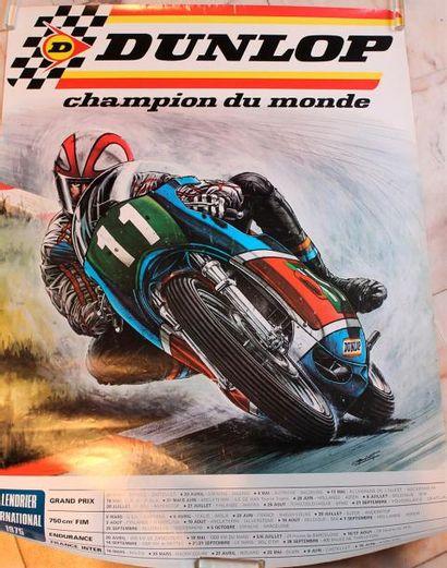 Affiche « DunloP Champion du Monde » signée...