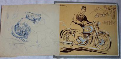 BSA Gold star et deux dessins de Motos en...