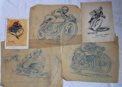 Trois études de Motos en Course