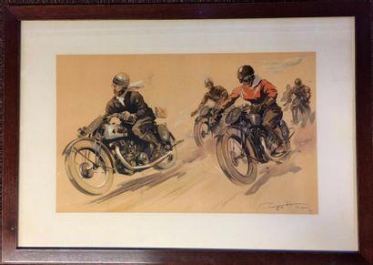 Géo HAM  « Course motos »  Lithographie signée...