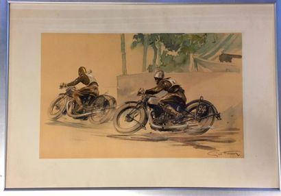 Géo Ham  « Deux motards en course »  Lithographie...