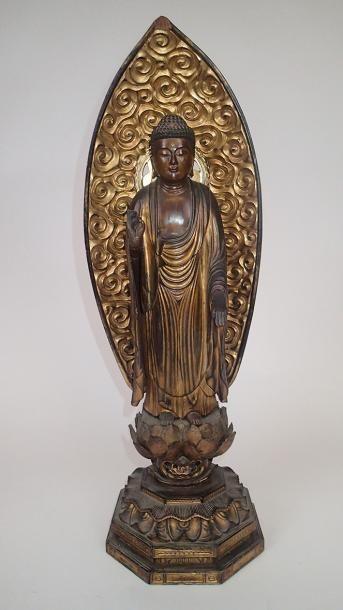 JAPON Grande figurine en bois sculpté laqué...