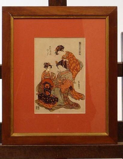 JAPON Deux reproductions copies d'estampes....