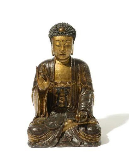 CHINE Grande sculpture en bois laqué doré...