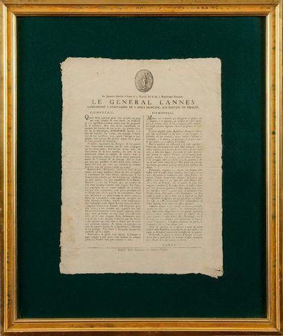 « LE GENERAL LANNES AUX HABITANS DU PIEMONT...