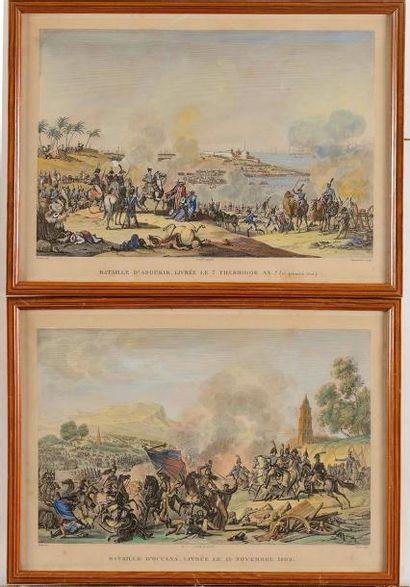 Quatre gravures aquarellées. « La Bataille...