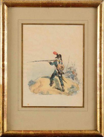 Horace VERNET (1789-1863) Voltigeur en embuscade....