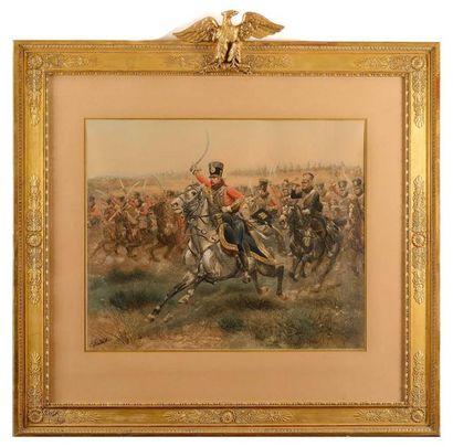 E. DETA ILLE , d'après. La charge du 4e hussards...
