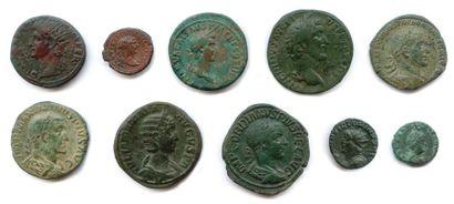lot de dix monnaies romaines en bronze (sesterces,...
