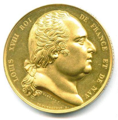 LOUIS XVIII (1815 - 1824) Tête nue du roi...