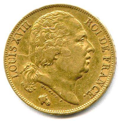 LOUIS XVIII 20 Francs or (tête nue) 1824...