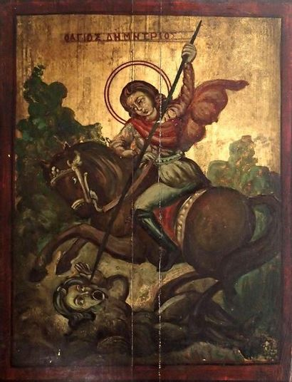 ICÔNE Saint Dimitri à cheval terrassant l'ennemi...