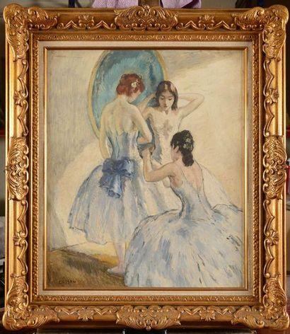 Marcel COSSON (1878-1956) La préparation des danseuses Huile sur isorel Signé en...