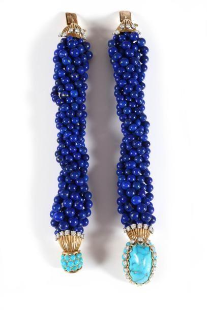 CARTIER PARIS Années 1950 Rarissime collier transformable en deux bracelets composé...