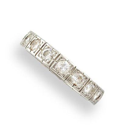 ALLIANCE AMERCAINE en platine et diamants,...