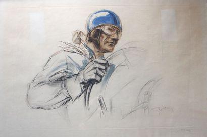 Géo HAM (Georges Hamel, 1900- 1972)  «Pilote au casque Bleu»  Lithographie signée...