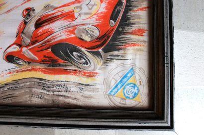 «Foulard, 24 Heures du Mans»  Carré en soie imprimé avec quatre représentations...