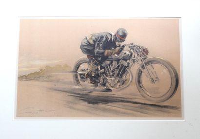 Géo HAM (Georges Hamel, 1900- 1972)  «Motard à Arpajon»  Lithographie signée en...
