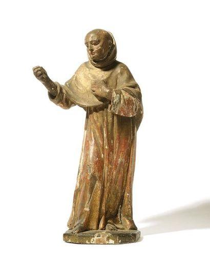 SAINT MOINE en bois sculpté, polychromé et...