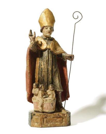 SAINT NICOLAS en bois sculpté, polychromé...