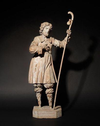 SAINT PELERIN en bois sculpté en ronde-bosse....