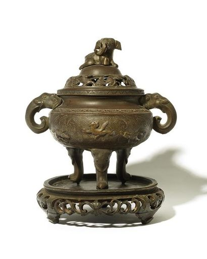 CHINE ou INDOCHINE Brûle parfum en bronze...