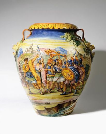 URBINO, dans le goût Grand vase à anses en...