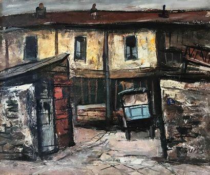 TAKANORI OGUISS (1901 - 1986) Cour à la charrette, 1929 Huile sur toile Signée en...