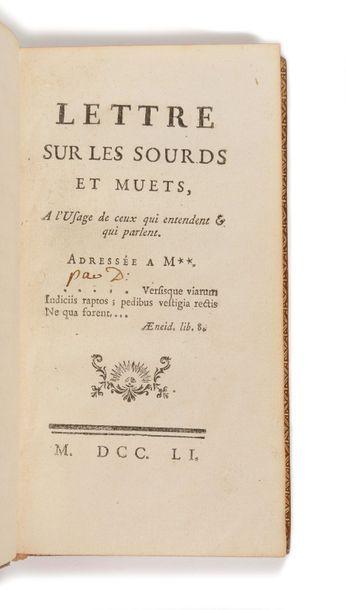 [DIDEROT (Denis)]. Lettres sur les sourds...