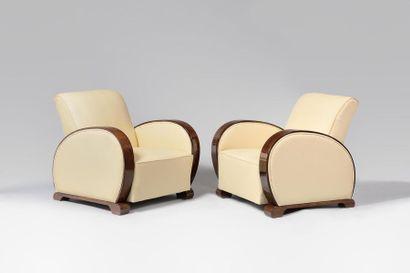 TRAVAIL DE STYLE ART DECO Paire de fauteuils...