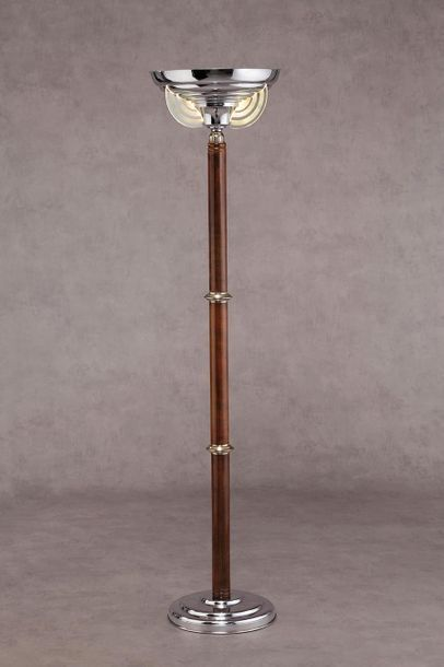 TRAVAIL DE STYLE ART DECO Lampadaire à fut cylindrique en palissandre annelé de...