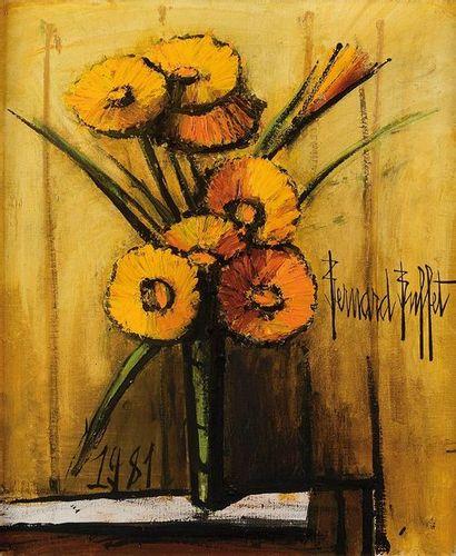 BERNARD BUFFET (1928-1999) Soucis Huile sur toile Signée à droite et datée 1981...