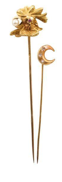 DEUX EPINGLES A CRAVATE  en or jaune 750 millièmes, l'une à motif de tête de coq...