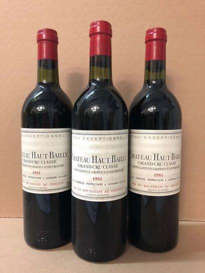 3 Blle Château HAUT BAILLY (Graves) 1981...