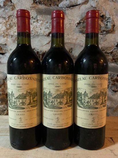 3 Blle Château CARBONNIEUX (Graves) 1981...