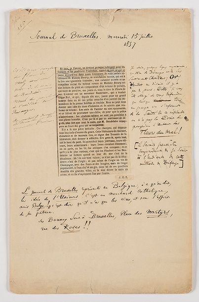 BAUDELAIRE (Charles). Notes autographes,...