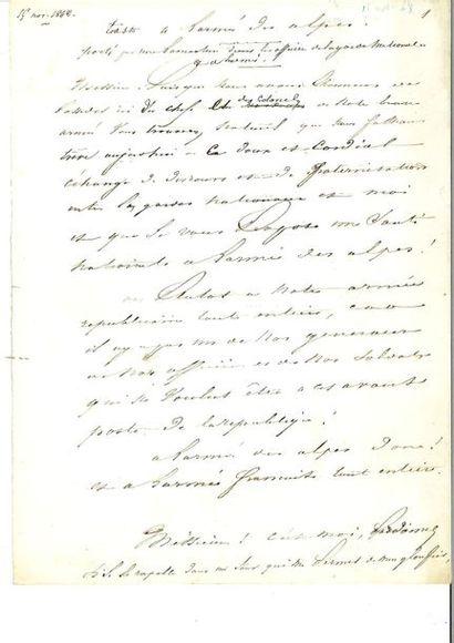 LAMARTINE (Alphonse de). Manuscrit autographe...
