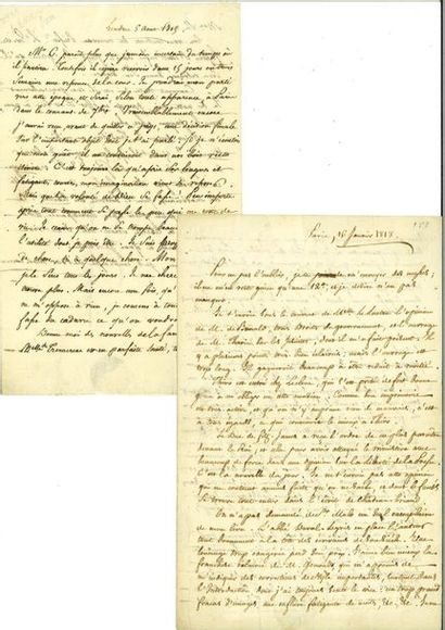 LAMENNAIS (Félicité Robert de). 2 lettres...
