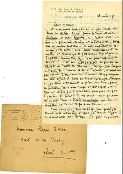MARTIN DU GARD (Roger). Lettre autographe...