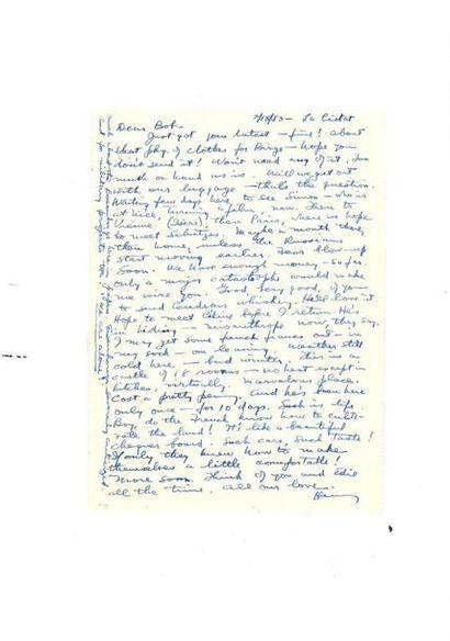 MILLER (Henry). Lettre autographe signée,...
